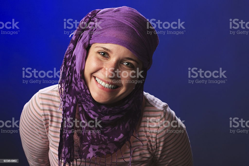 Female on a blue royalty-free stock photo