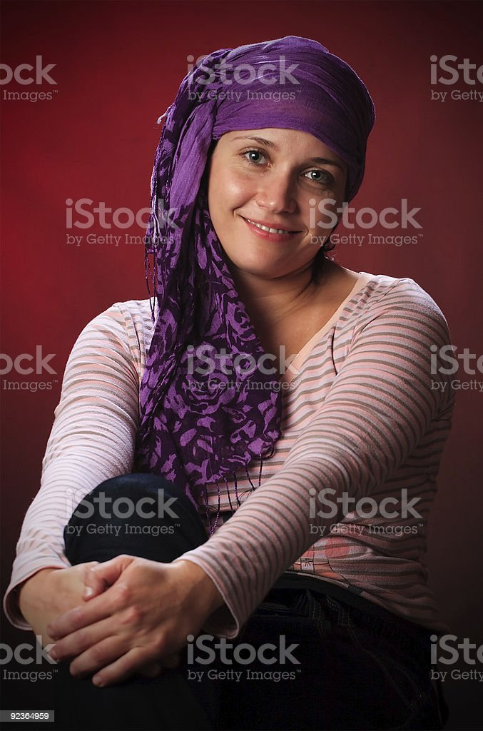 Female on a red royalty-free stock photo