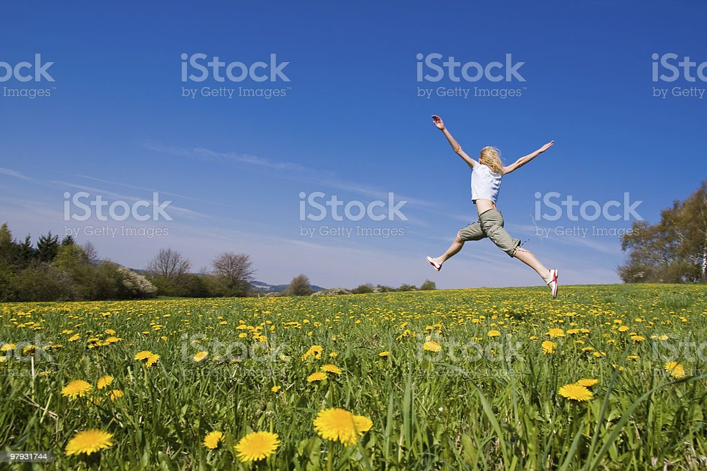 female on spring meadow royalty-free stock photo