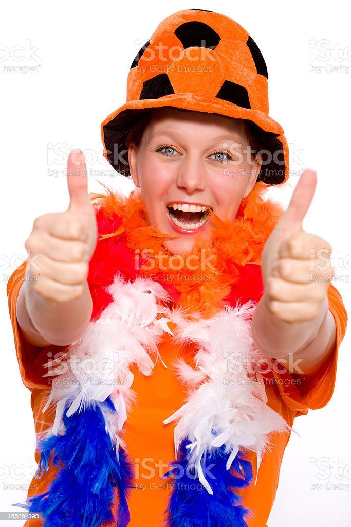 Female Orange Fan royalty-free stock photo