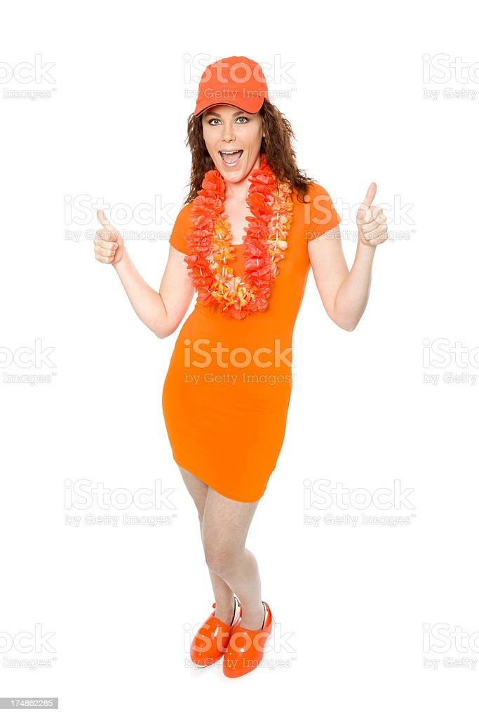Female orange soccer fan stock photo