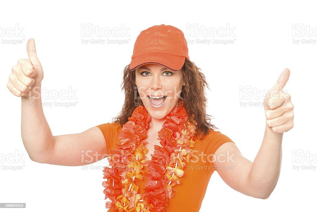 Female orange soccer fan royalty-free stock photo