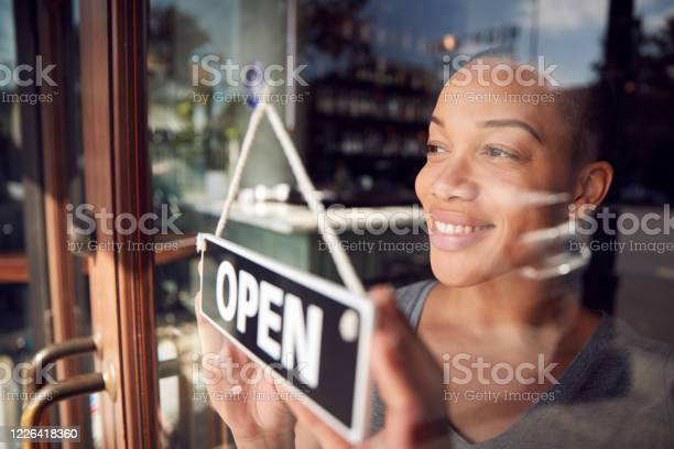 Photo of Female Owner Of Start Up Coffee Shop Or Restaurant Turning Round Open Sign On Door
