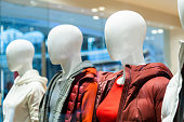 Female padded jacket in modern clothing store
