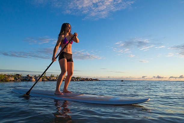 weibliche-paddleboarding bei sonnenaufgang - stehpaddeln stock-fotos und bilder