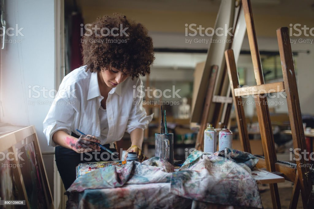 Female painter stock photo