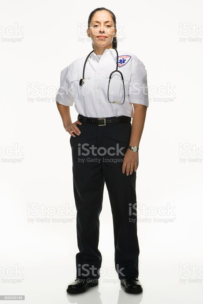 Female Paramedic on white background, portrait stock photo