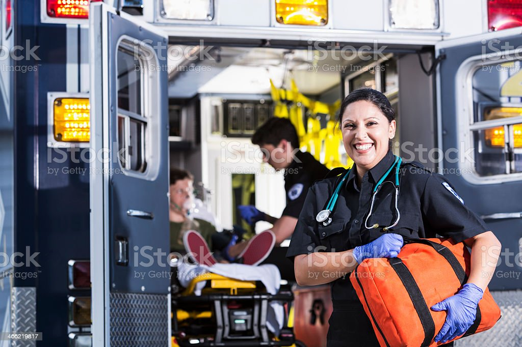 Female paramedic stock photo