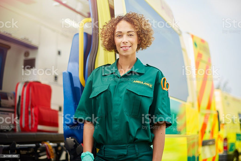 female paramedic portrait stock photo