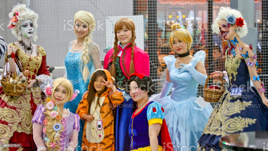 Female participants at the 20th Anniversary of Kawasaki Halloween stock photo