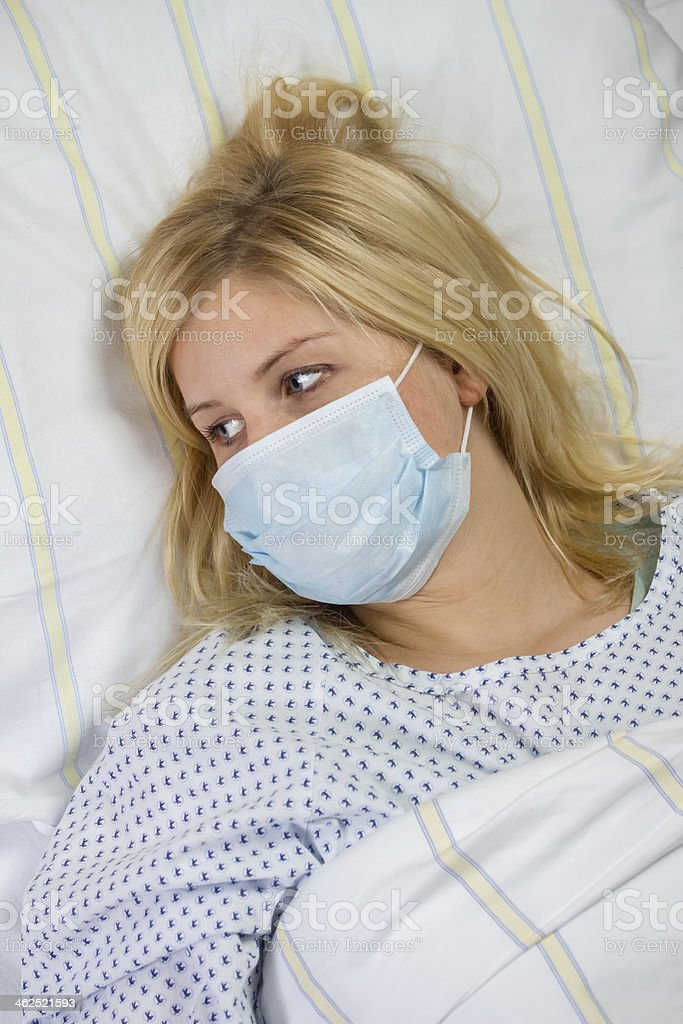 female patient in hospital quarantine royalty-free stock photo