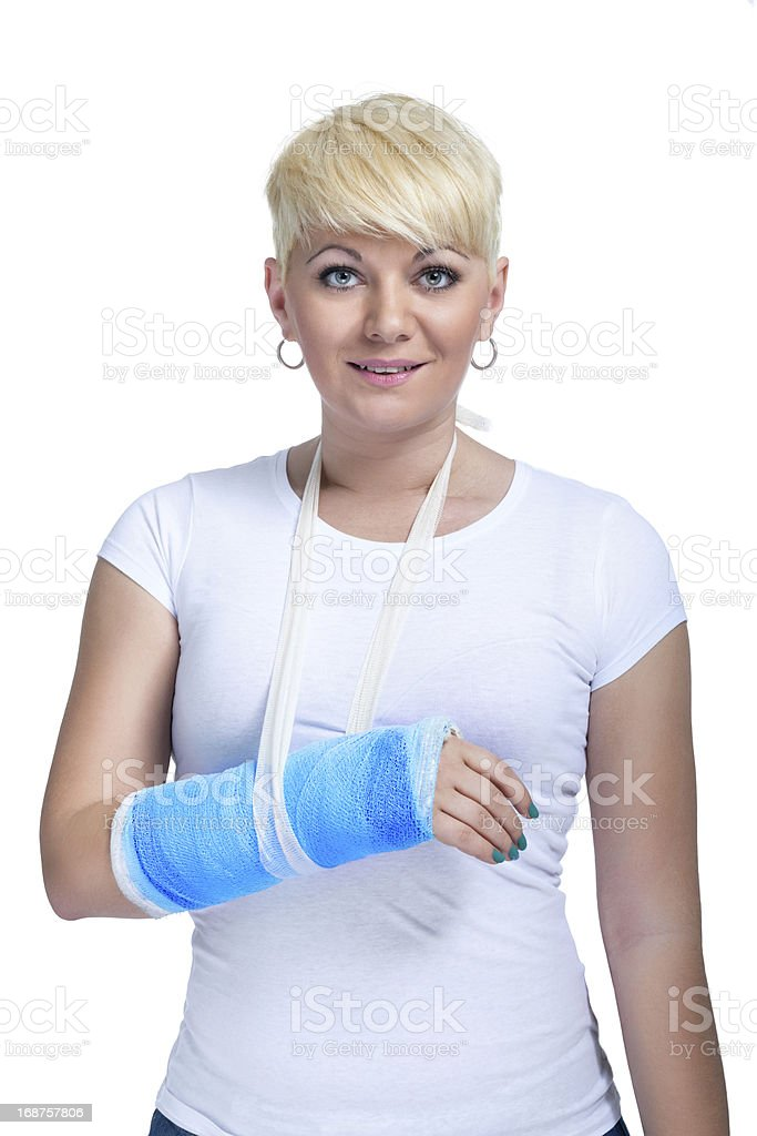 Female patient with broken arm stock photo