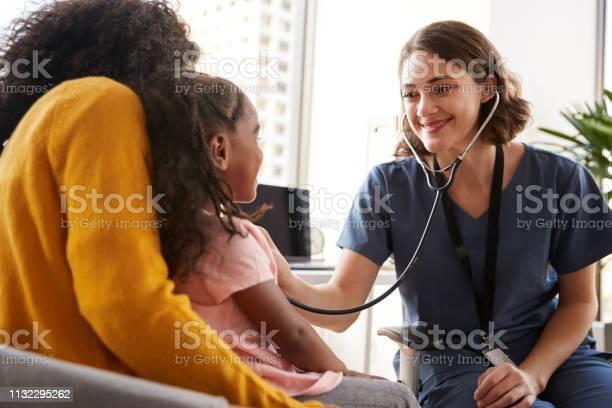 Female pediatrician wearing scrubs listening to girls chest with in picture id1132295262?b=1&k=6&m=1132295262&s=612x612&h=8 7rm9zsi25wtoczlkv3 n8toyfe unti1tpst8n9jg=