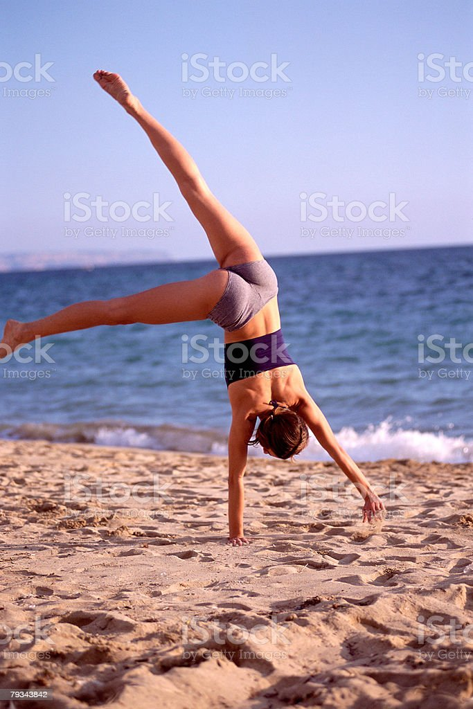 Female performing handstand royalty-free 스톡 사진