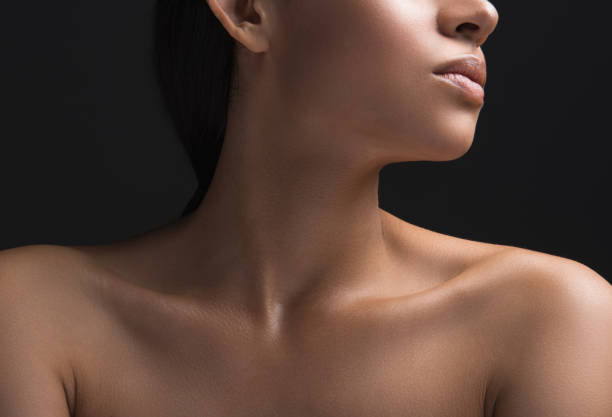 Female person having perfect skin covering stock photo