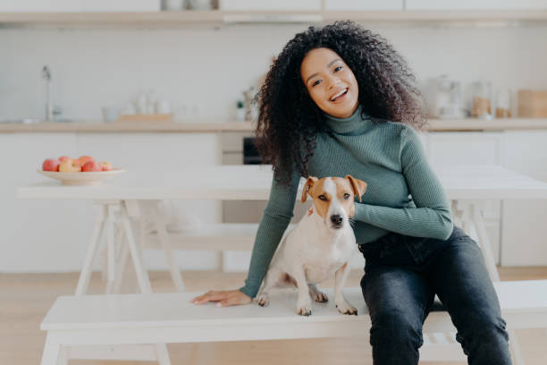vrouwelijke huisdier eigenaar drukt liefde aan de hond, gekleed in casual coltrui en jeans, zit op witte bank tegen gezellige keuken interieur, besteedt vrije tijd thuis, glimlacht over het algemeen van gelukkige enotions - zwarte spijkerbroek stockfoto's en -beelden