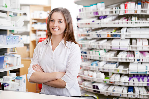 Female Pharmacist Smiling stock photo