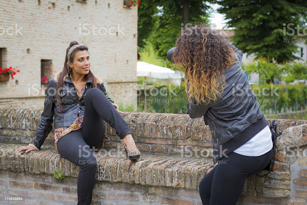 Female Photographer and model royalty-free stock photo