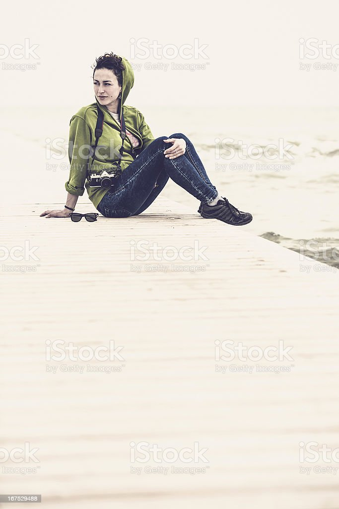 Female photographer relaxing outdoor royalty-free stock photo