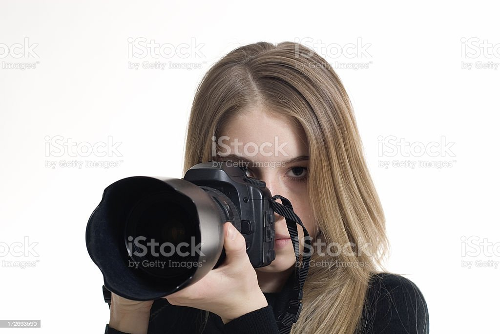 Female Photographer with Camera royalty-free stock photo