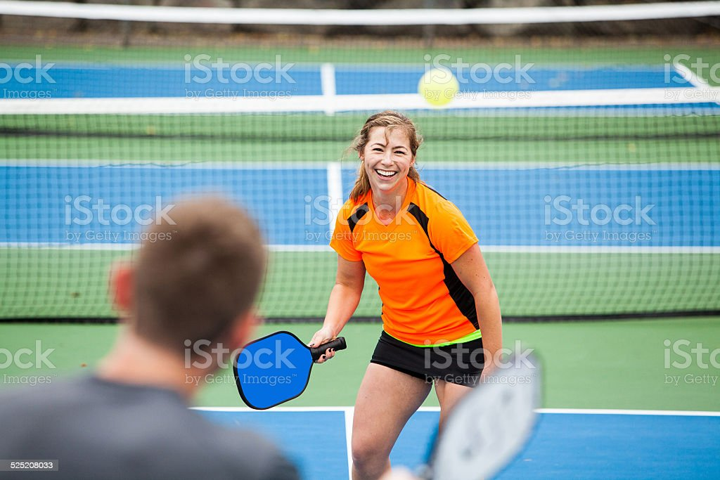 Female Pickleball player stock photo