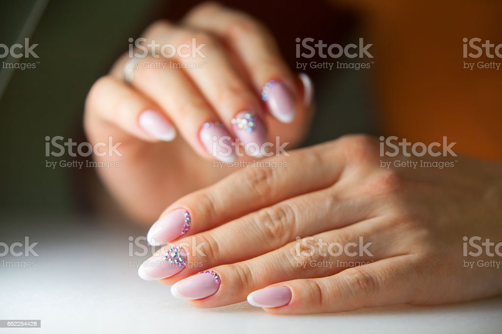 Female Pink French Manicure On Beautiful Background Stock Photo ...