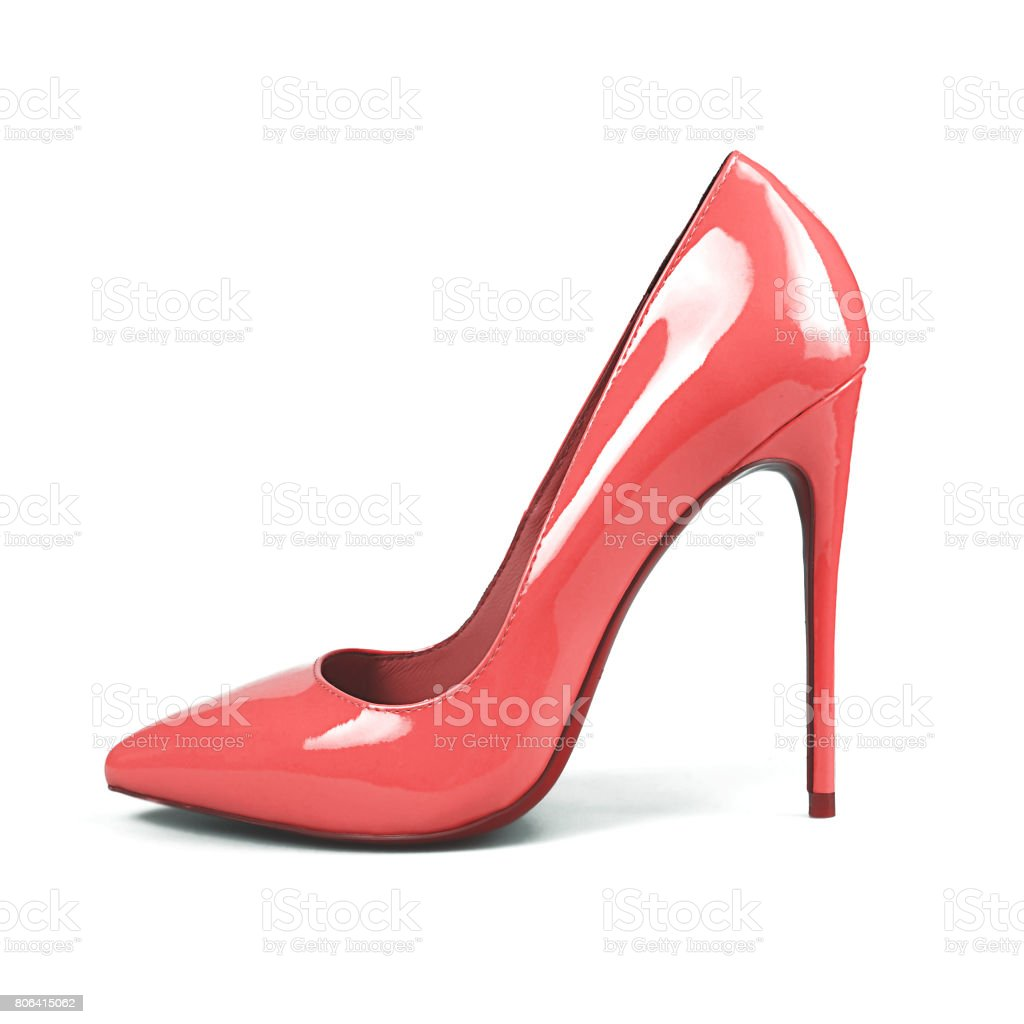 female pink shoes over white stock photo