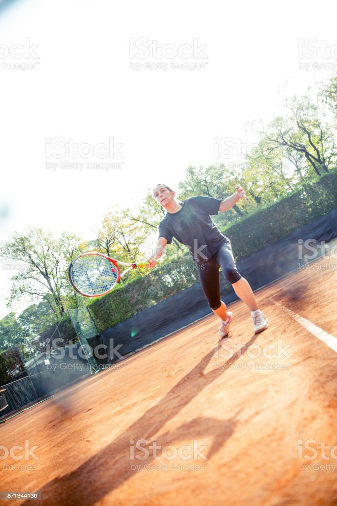 Female Player Holding a Tennis Racket stock photo
