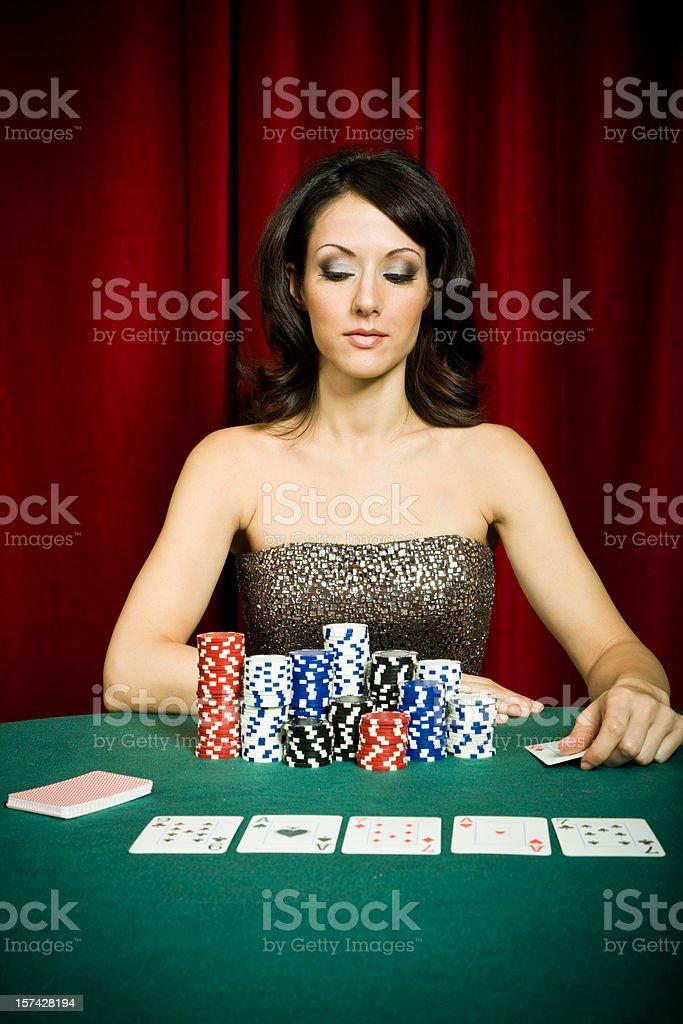 Female Poker player royalty-free stock photo