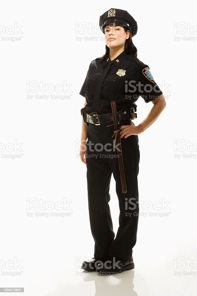 Female Police Officer on white background, portrait stock photo