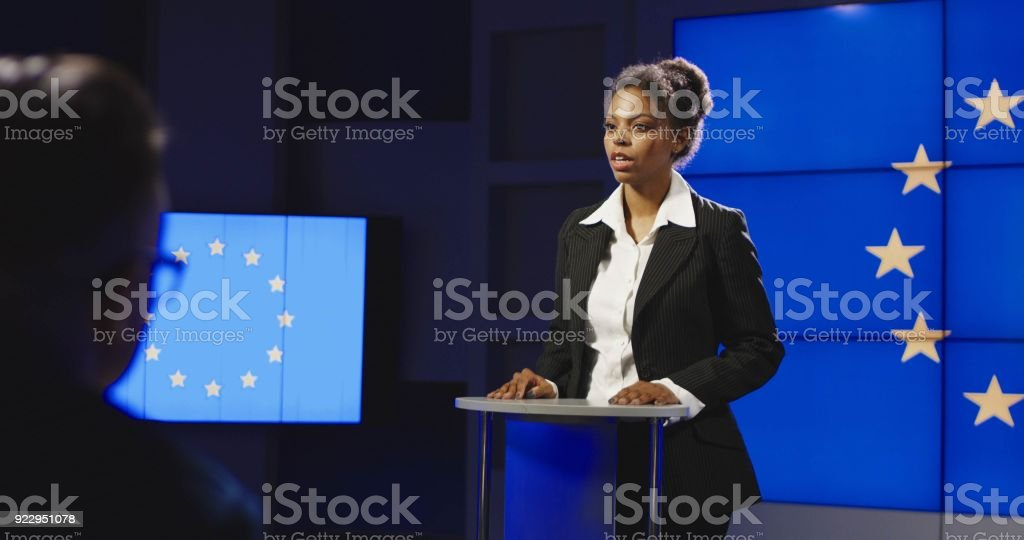 Female politician of EU having press conference stock photo