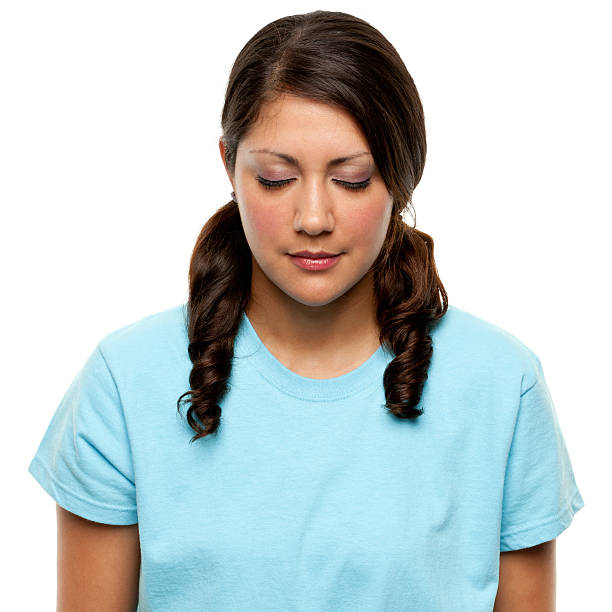 female portrait - pigtails stock photos and pictures