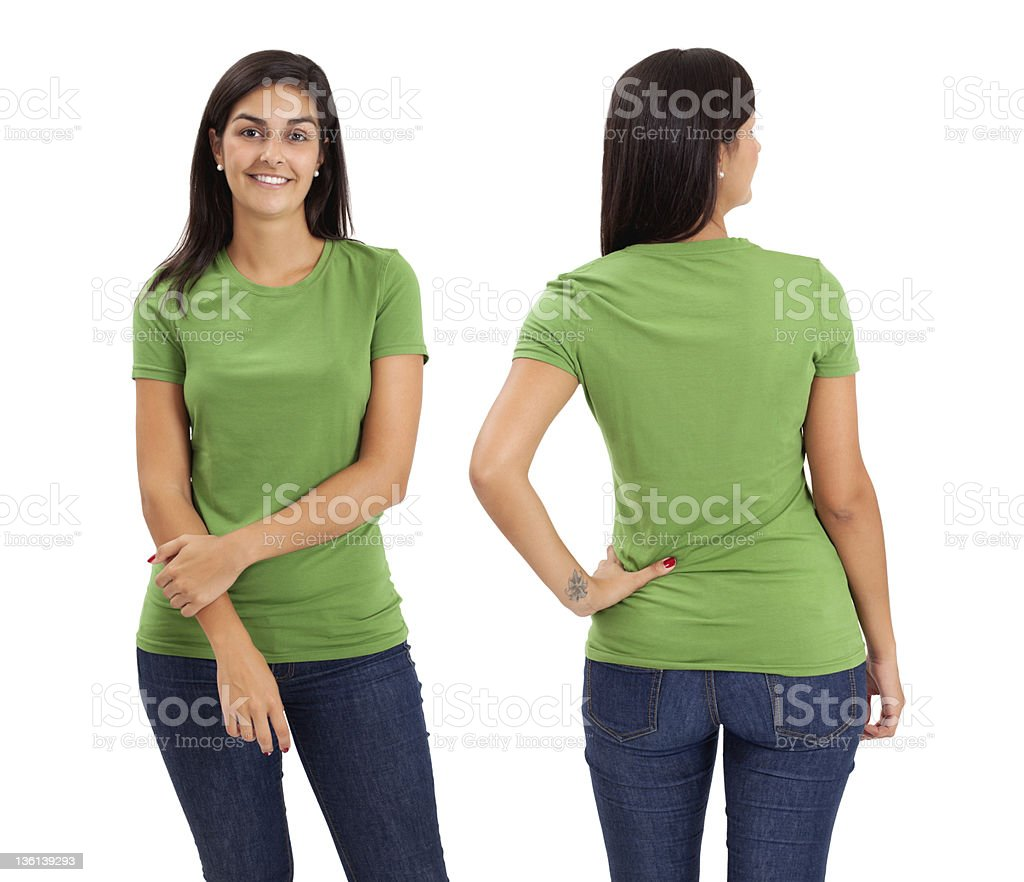 Female posing with blank green shirt stock photo