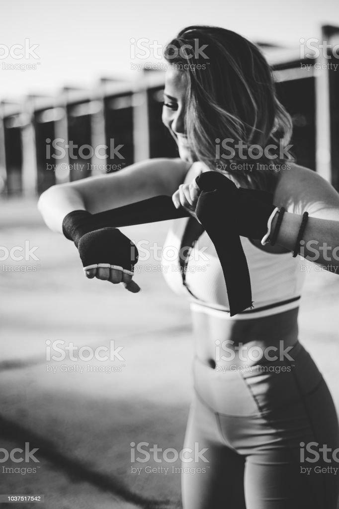 Female preparing for boxing stock photo