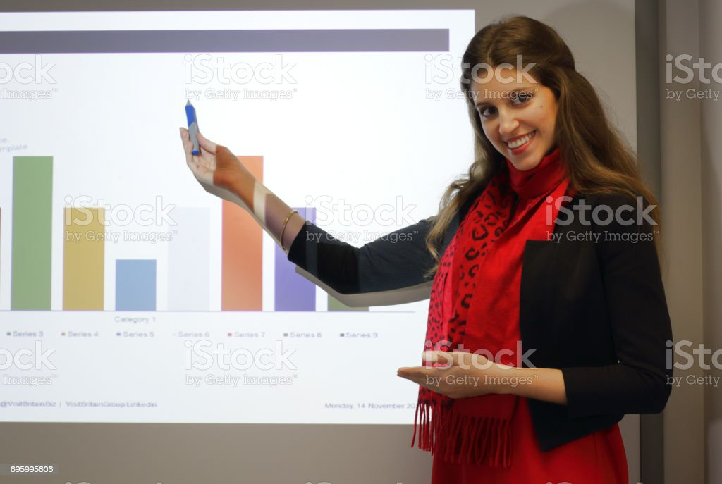Female presenter of Powerpoint business presentation with histogram graph stock photo