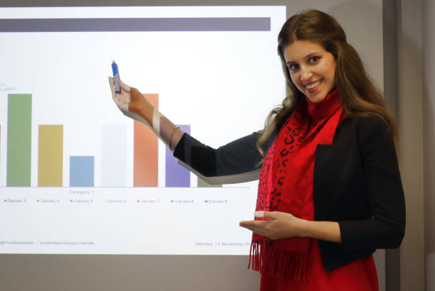 Female presenter of Powerpoint business presentation with histogram graph Indoor business presentation with use of Powerpoint slides. The young female presenter demonstrates a standard histogram graph with coloured bars. whiteway stock pictures, royalty-free photos & images