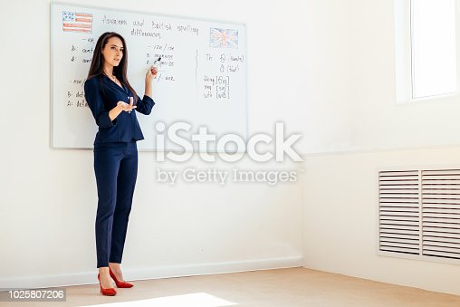 istock Female professional tutor explaining diagram drawn on white board 1025807206