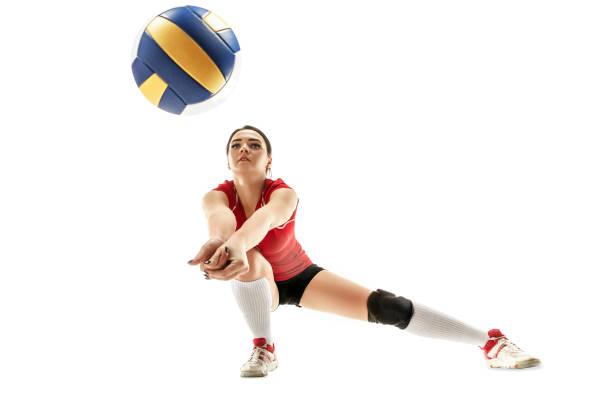 jugador de voleibol profesional mujer aislado en blanco - juego de vóleibol fotografías e imágenes de stock