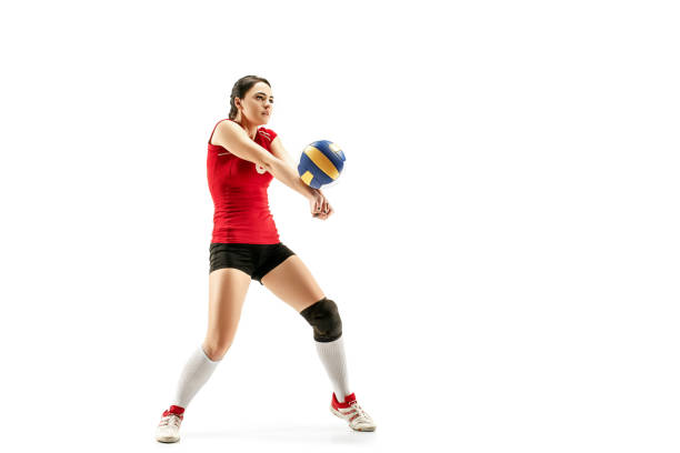 female professional volleyball player isolated on white - volleyball sport stock photos and pictures