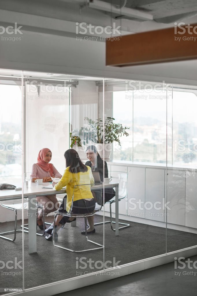 Female professionals discussing in board meeting stock photo