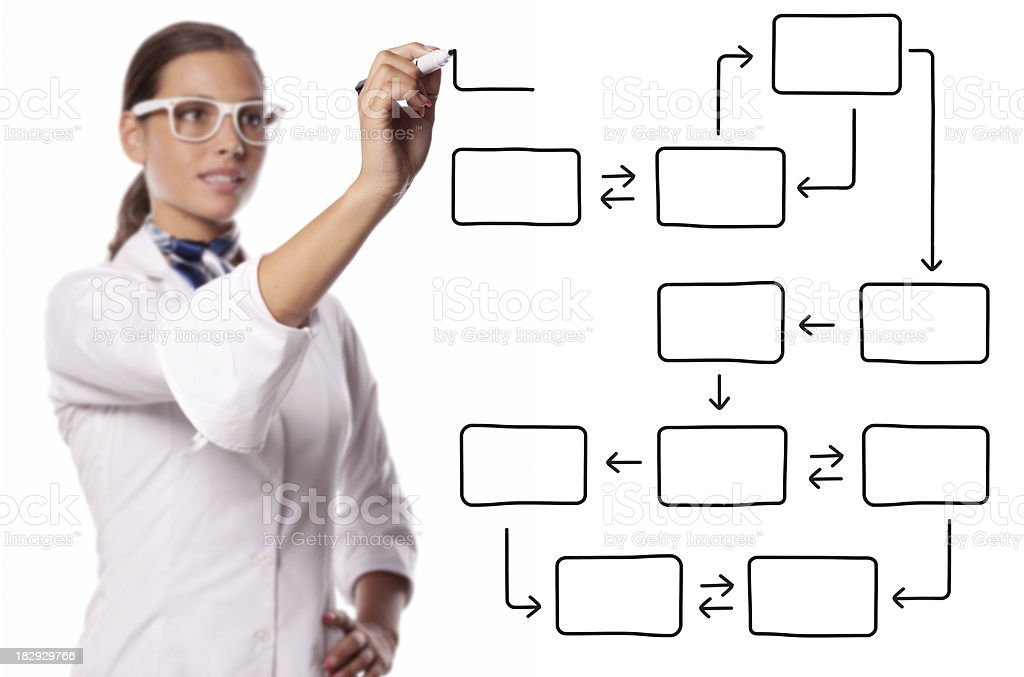 Female project manager drawing an blank chart royalty-free stock photo
