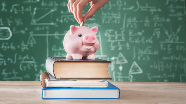 female putting coin into piggy bank - formula 1 стоковые фото и изображения