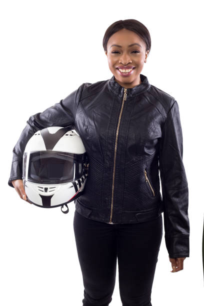 Female Race Car Driver or Biker or Stuntwoman stock photo