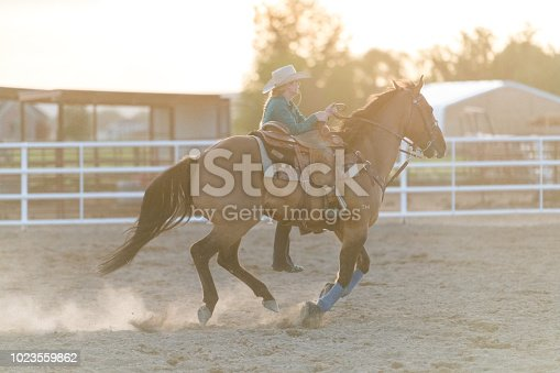 Female rancher standing in stirrup while horse riding at speed
