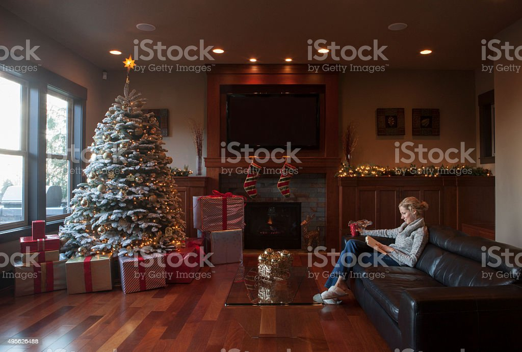 Female Reading a Book in Her Christmas Decorated Living Room stock photo