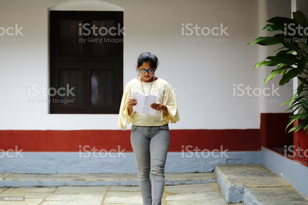 Female Reading Papers royalty-free stock photo