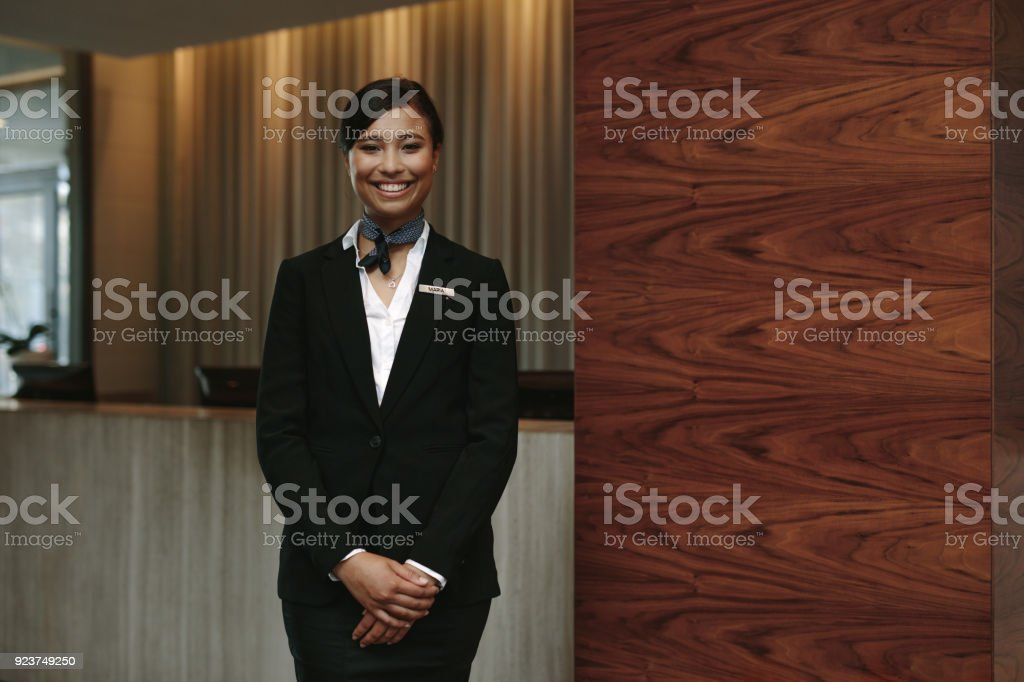Female receptionist working in hotel foto stock royalty-free
