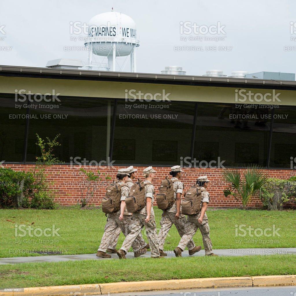 Female recruits for U.S. Marine Corps stock photo