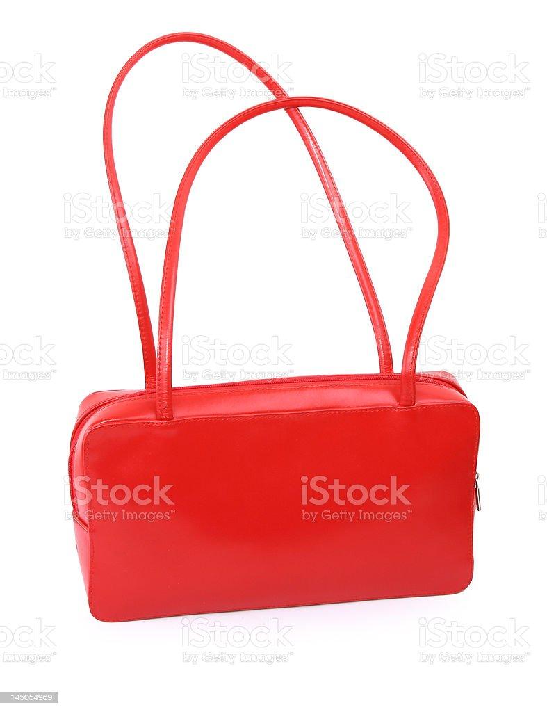 female red leather handbag stock photo