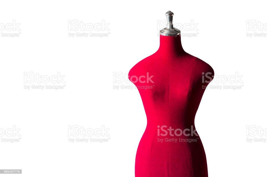 kadın kırmızı manken terzi ya da taylor için siyah arka plan üzerine izole - Royalty-free Antika Stok görsel